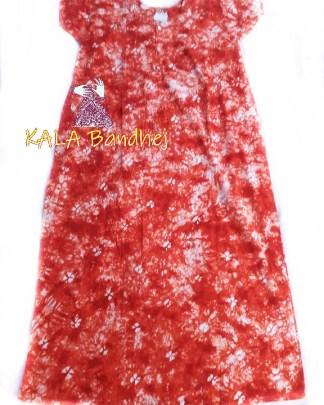 Orange Bandhani Night Gown