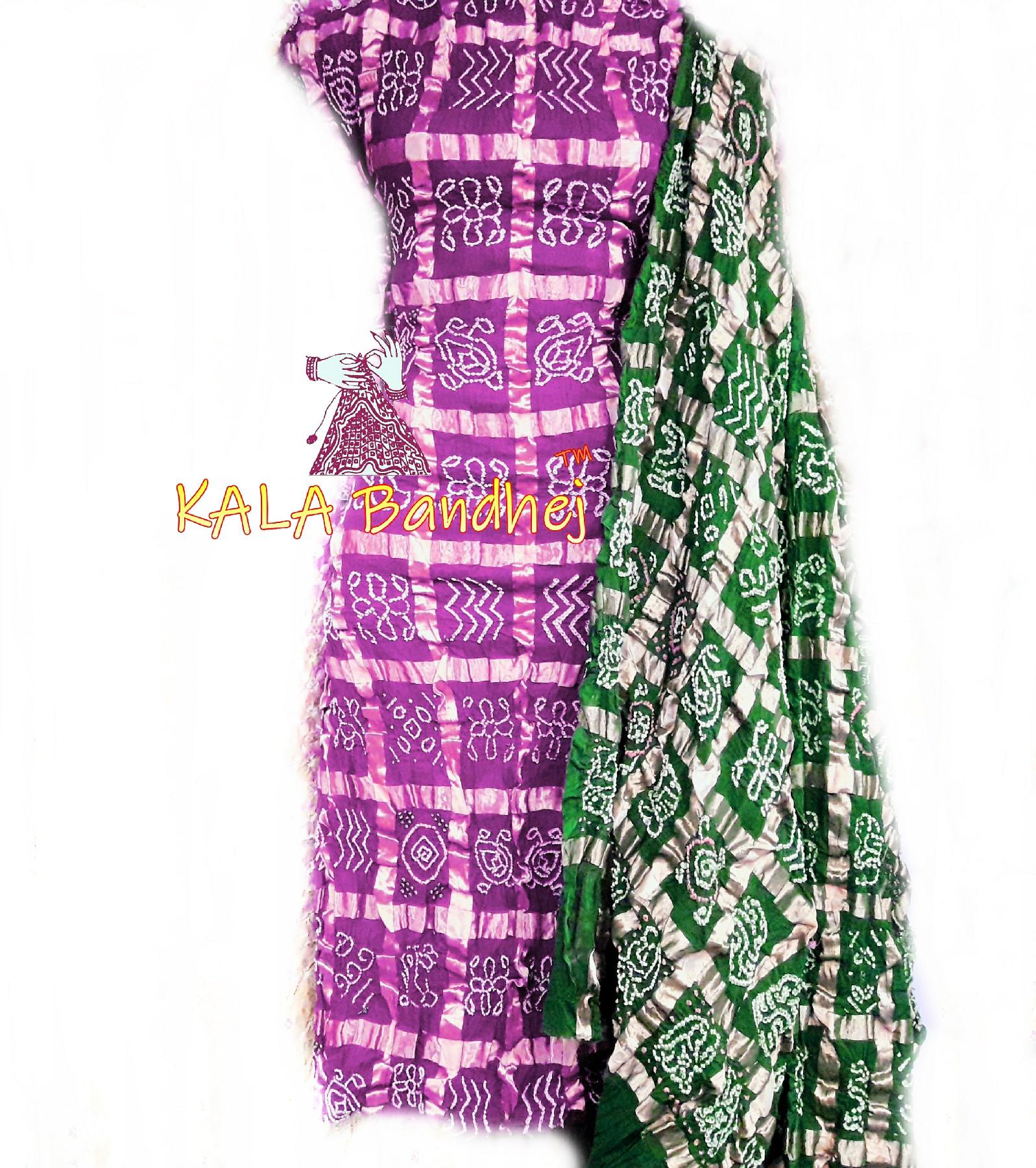 Pink - Green Cotton Gharchola DressMaterial