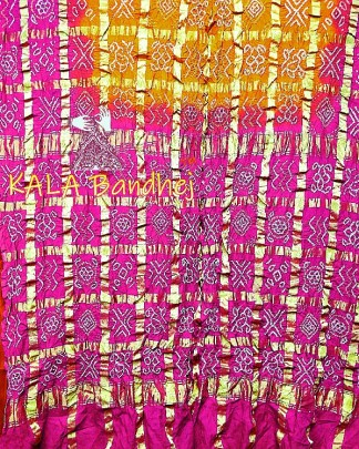 Pink-Orange Gharchola Saree