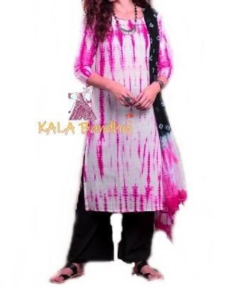 Pink - Shibori Dress Material
