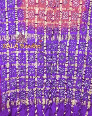 Purple-Carrot Gharchola Saree