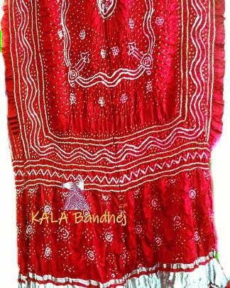 Red GajiSilk Bandhani LagdiPalav Dupatta