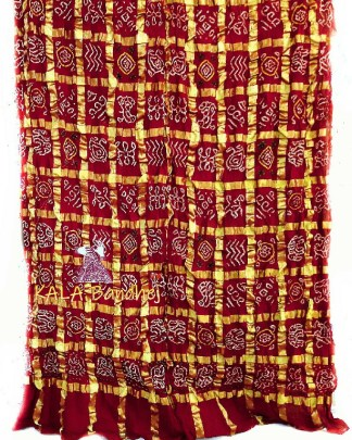 Red Bandhani Gharchola Saree