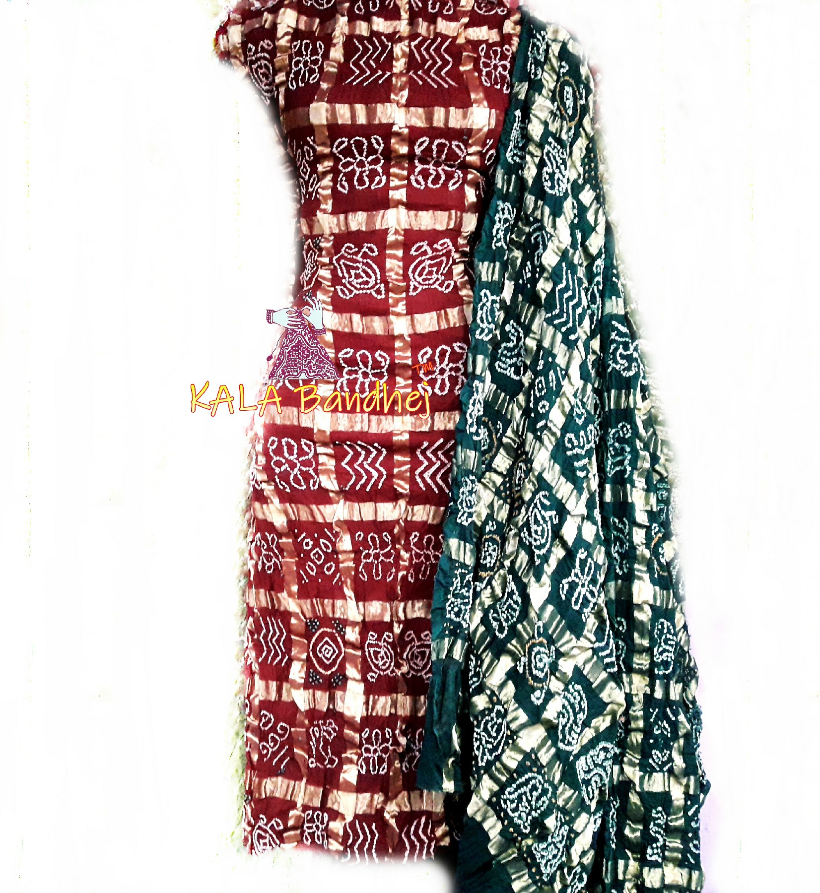 Red - Green Cotton Gharchola DressMaterial