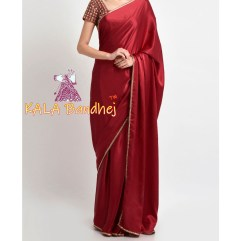 Red Gaji Silk Plain Saree