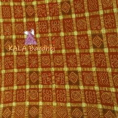 Rust Real Zari Bandhani Gharchola Saree