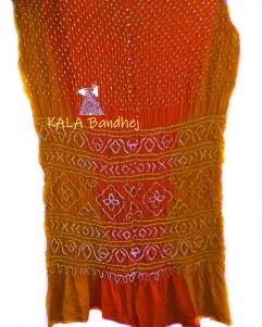 Rust-Red GajiSilk Shaded Bandhani Saree