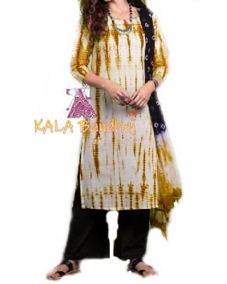 Rust - Shibori Dress Material