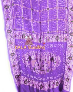 Slate Purple Embroidery Bandhani Saree