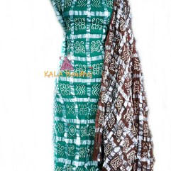 Turquoise - Brown Cotton Gharchola DressMaterial