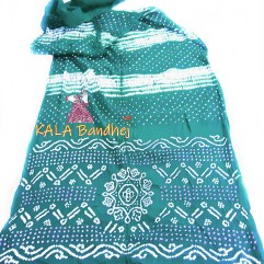 Turquoise Shibori GajiSilk Bandhani Saree