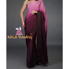Wine Pink Gaji Silk Plain Saree Mirror work