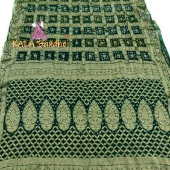 Green Pure Georgette Bandhani Gharchola Saree