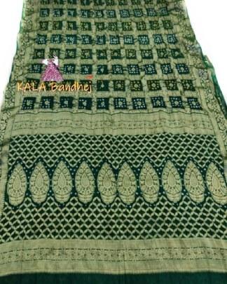 Green Pure Georgette Bandhani Gharchola Saree