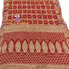 Red Pure Georgette Bandhani Gharchola Saree