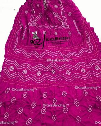 pink gaji silk bandhani dupatta