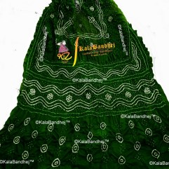Bottle Green gaji silk bandhani dupatta