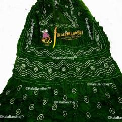 Bottle Green gaji silk bandhani dupatta