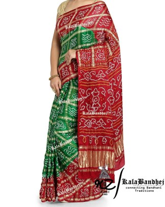 green-red Gajisilk bandhani gharchola Saree