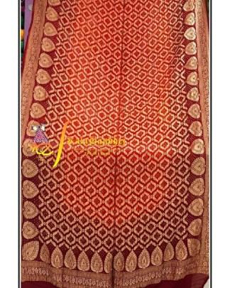 Pure Crape Silk Bandhani Dupatta Brown-rust