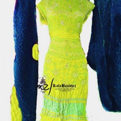Lemon-Yellow-Light-Blues Gajisilk Bandhani Dressmaterial