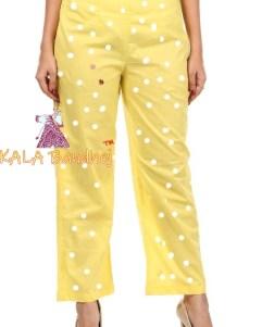 Bandhani Yellow Straight Pants