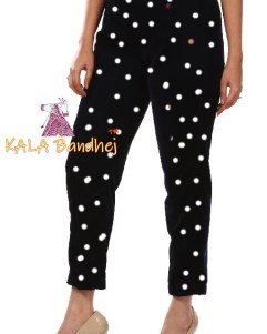 Bandhani Black Straight Pants
