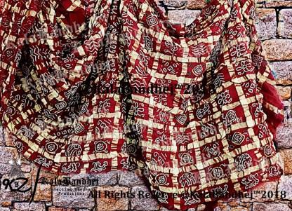Marron Cotton Gharchola Saree