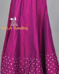 Purple Bandhani Kali Skirt Lehenga