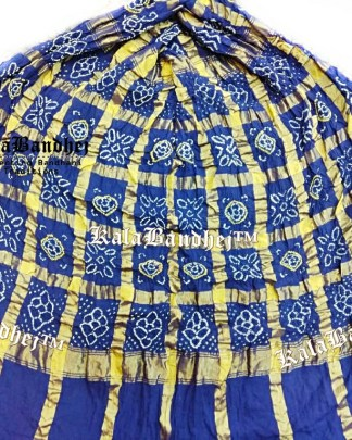 Blue Cotton Gharchola Saree