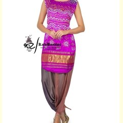 Purple Gaji Silk Patiala Suit