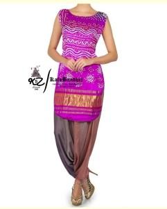 Purple Gaji Silk Patiala Suit