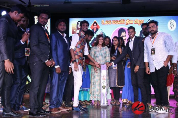 Actress Varalaxmi Sarathkumar at DG Vaishnav College Event Stills