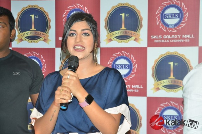 Yashika Aannand at the first year anniversary celebrations of SKLS Galaxy Mall in Chennai