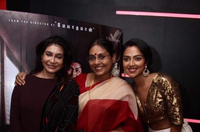 Aadai Movie Celebrities Show held at Chennai. Amala Paul, Ramya Subramanian, Ananya Ramaprasad, Rathna Kumar, Uma Padmanabhan, Riythvika,