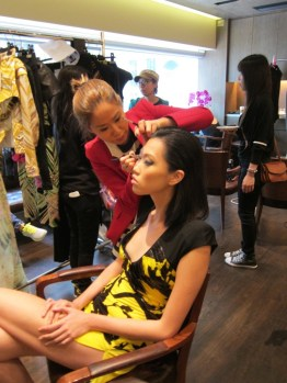 Kalamakeup makeup & hair styling for fashion shows for Leonard