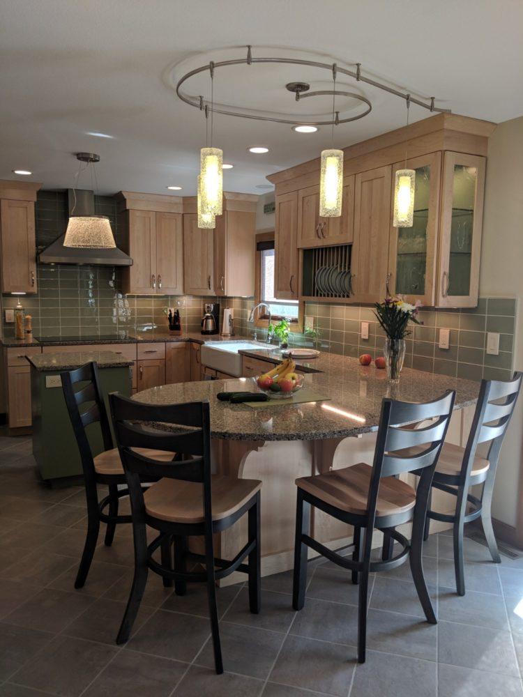 Midcentury-modern style kitchen, natural maple, maple ... on Natural Maple Maple Cabinets With Quartz Countertops  id=65635
