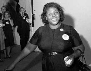 Aug. 25, 1964 — Fannie Lou Hamer walks towards the door to the National Democratic Convention. Credit: Bettman / Getty Images