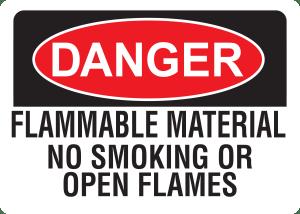 10x14 Plastic Sign Danger Flammable Material
