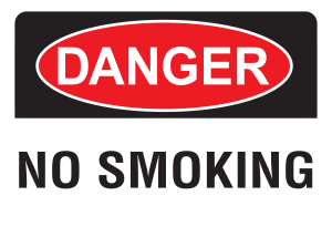 10x14 Plastic Sign Danger No Smoking