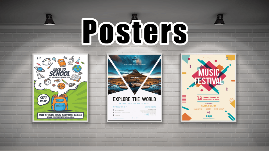 posters on a wall