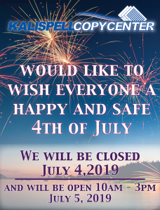 Closed for 4th of July 2019