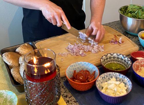 Chopping Shallots for Stuffed Portobellos
