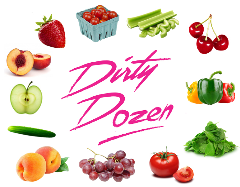 The Dirty Dozen (2016): strawberries, nectarines, apples, cucumbers, peaches, grapes, tomatoes, spinach, sweet bell peppers, cherries, celery, cherry tomatoes.