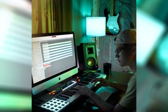 Kaleb Justice laying bass track