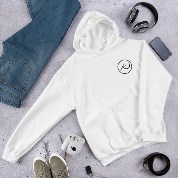 Kaleb Justice Brand White Hoodie Product Mockup