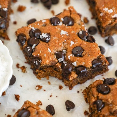 Fudgy and delicious almond butter blondies that are made with minimal ingredients and are healthier for you too! They're the perfect gluten free dessert!
