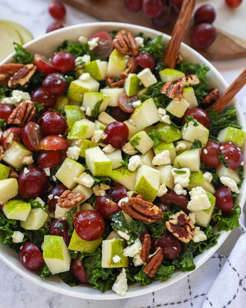 These simple autumn pear salad is delicious and the way to transition to fall! It's full of fresh seasonal fruit and even has a homemade dressing too!