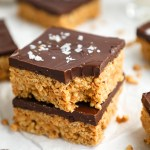 These delicious chocolate peanut butter crunch bars are only 4 ingredients and so easy to make too! They're great for kids and even healthier for you too!