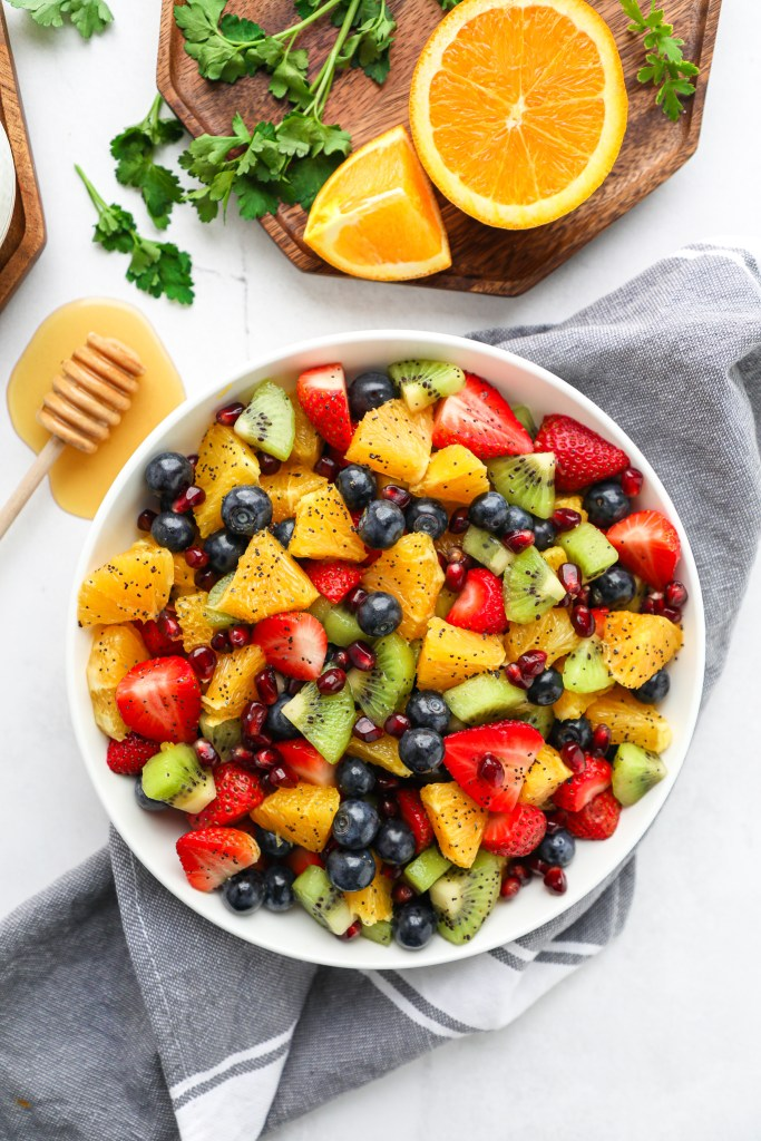 This is by far my most favorite fruit salad! It's flavorful, refreshing and made with all of my favorite winter fruits too! We love serving it for breakfast or brunch or even for dessert too!